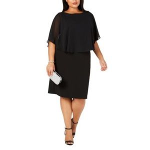 Womens Plus Chiffon Tiered Cocktail Dress